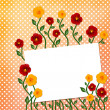 Sheet with flowers on polka dot background — Stock Photo
