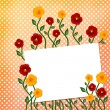 Sheet with flowers on polka dot background — Stockfoto