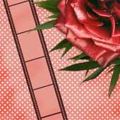 Grunge card with film and red rose — Stock Photo