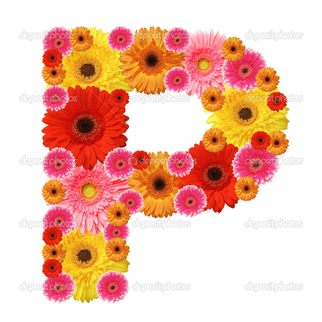 P, flower alphabet isolated on white — Stock Photo #3438298