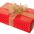 Present box with ribbon isolated - Stock Photo