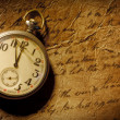 Pocket-watch and old hand-written personal letter — 图库照片