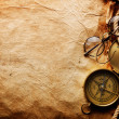 Stock Photo: Compass, rope and glasses