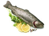 Raw fish trout with lemon and parsley — Stock Photo