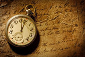 Pocket-watch and old hand-written personal letter — Stock Photo