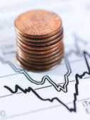 Money and chart — Stock Photo