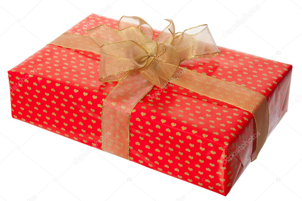 Present box with ribbon isolated on white background — Stock Photo #5115384