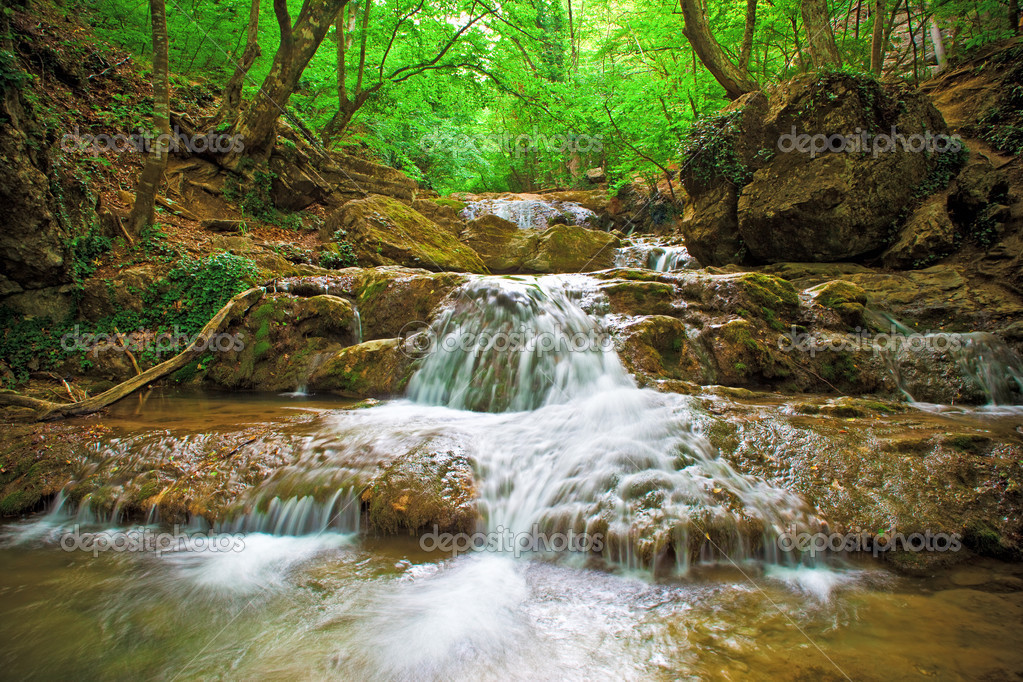 The beautiful waterfall in forest, spring, long exposure — Stock Photo #5117467