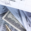Financial concept. Pen, chart, money. - Stock Photo