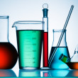 Assorted laboratory glassware equipment - Stock Photo