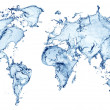 Blue water splash (world map) isolated - Stock Photo