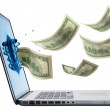 Money jumping from Laptop isolated — Stock Photo