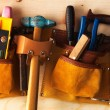 Tools on a wooden background — Foto de Stock