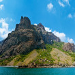 Stock Photo: Extinct volcano Karadag, View from boat