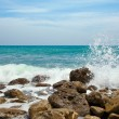Rocks in the waves and sea foam. — Stockfoto