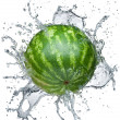 Watermelon in spray of water. - Stock Photo