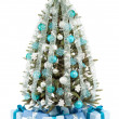 Christmas Tree and Gifts. Over white background — Photo