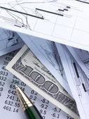 Financial concept. Pen, chart, money. — Stock Photo