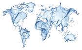 Bleu éclaboussures d'eau (carte du monde) isolé — Photo