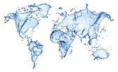 Blue water splash (world map) isolated — Stok fotoğraf
