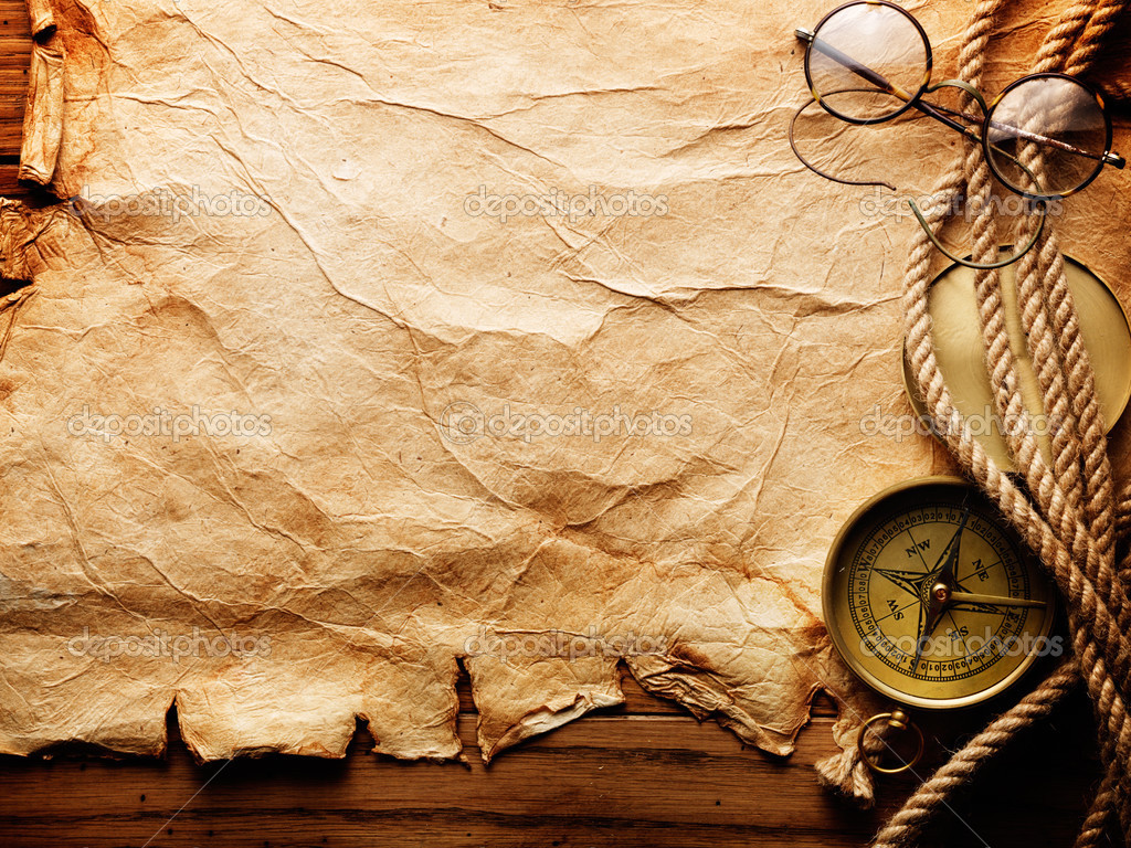 Compass, rope and glasses on old paper — Stock Photo #5120226