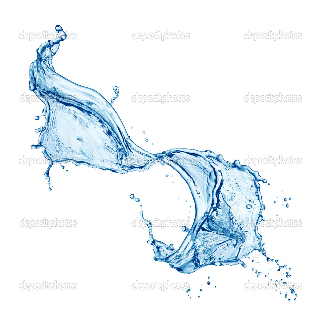 Blue water splash isolated on white background — ストック写真 #5125469