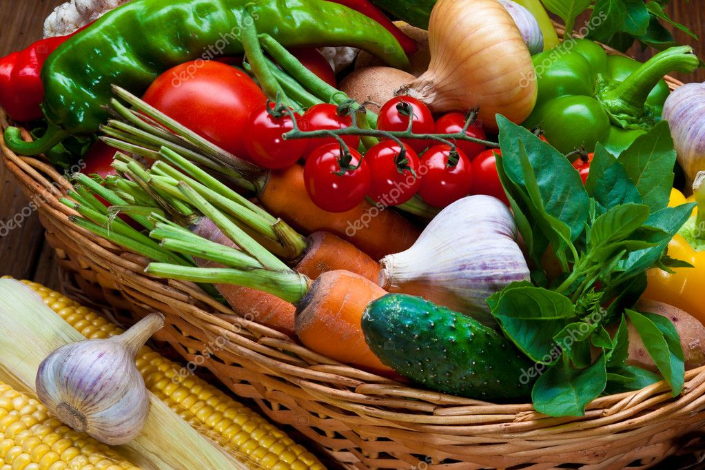 Fresh Vegetables, Fruits and other foodstuffs. Background. — Stock Photo #5128548