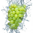Grape in spray of water. - Stock Photo