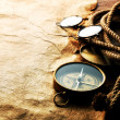 Stock Photo: Compass, rope, glasses and old paper