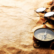 Compass, rope, glasses and old paper — Stock Photo