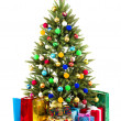 Christmas Tree and Gifts isolated on white background — Stock Photo