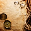 Compass, rope and glasses — Stock Photo #5133168