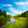 Summer landscape with river — Stock Photo
