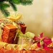 Stock Photo: Christmas tree and gift