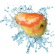 Pear in spray of water. - Stock Photo