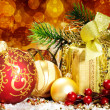 Stock Photo: Christmas decoration. vintage background.