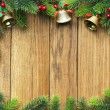 Christmas fir tree on wooden board — ストック写真