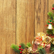 Christmas fir tree and christmas decoration — Stock fotografie
