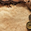 Compass, rope, paper and chain — Stock Photo #5137486