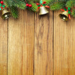 Christmas fir tree on wooden board — Stok fotoğraf #5137596