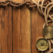 Compass, rope and chain — Stock Photo