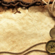 Compass, rope, paper and chain — Stockfoto
