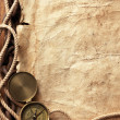 Compass, rope, paper and chain — Stock Photo #5138102