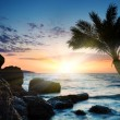 Beautiful sunset at tropical beach. - Foto Stock