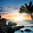 Beautiful sunset at tropical beach. - Stock Photo