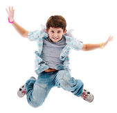 Boy jumping isolated on white background — Stock Photo