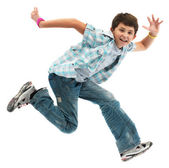 Boy jumping isolated on white background — Stock Photo
