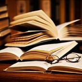 öppnade bok, liggande i bokhyllan — Stockfoto