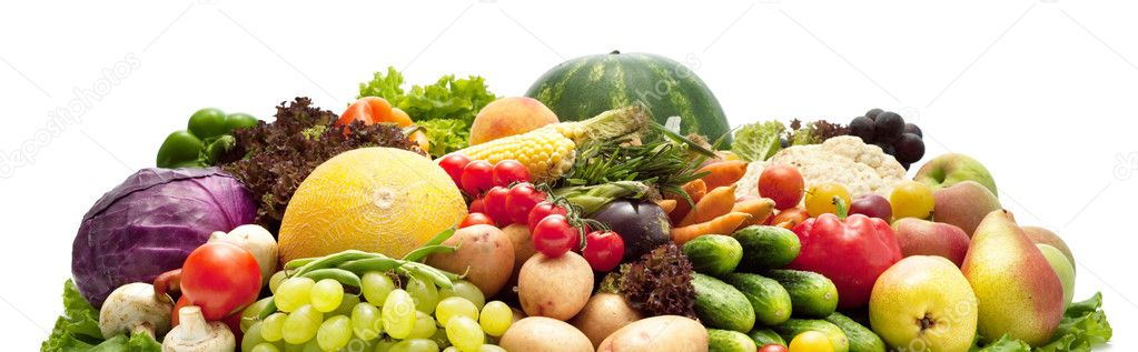 Fresh Vegetables, Fruits and other foodstuffs. Isolated. — Stock Photo #5130794