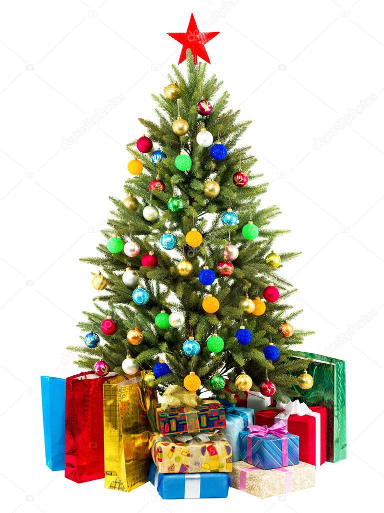Christmas Tree and Gifts isolated on white background — Stock Photo #5130856